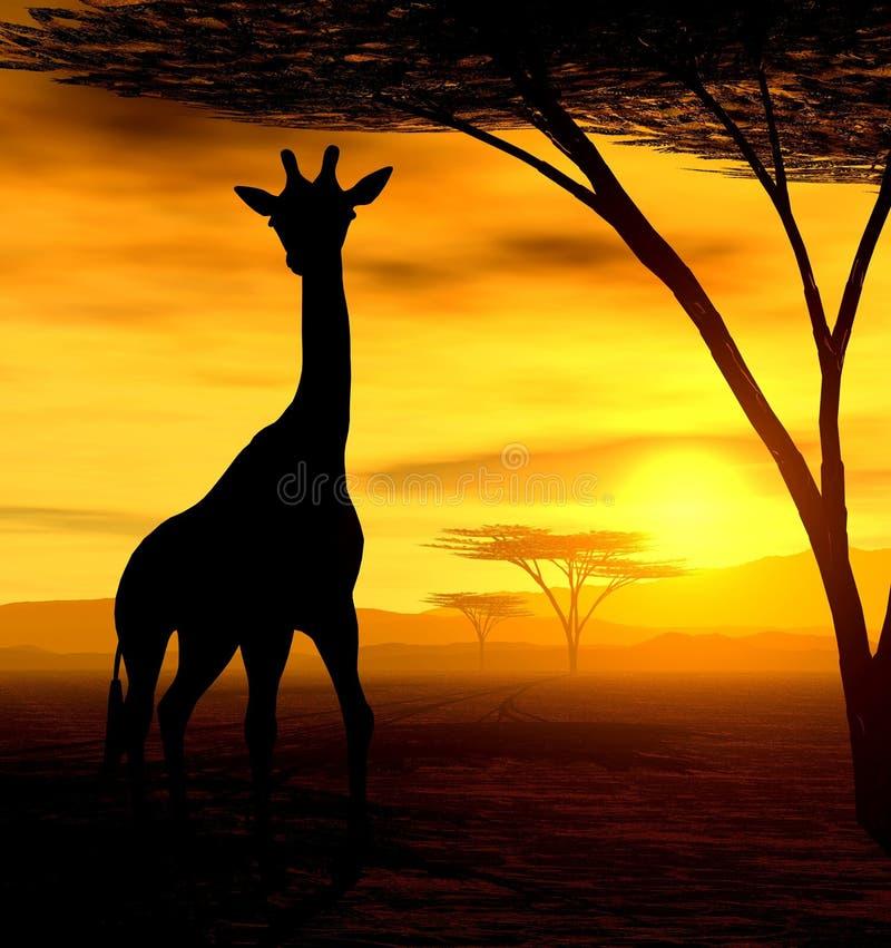afrikansk giraffande vektor illustrationer