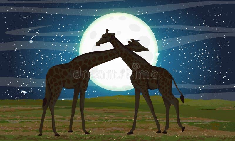 afrikansk giraffsavannah två Natt och stor måne royaltyfri illustrationer
