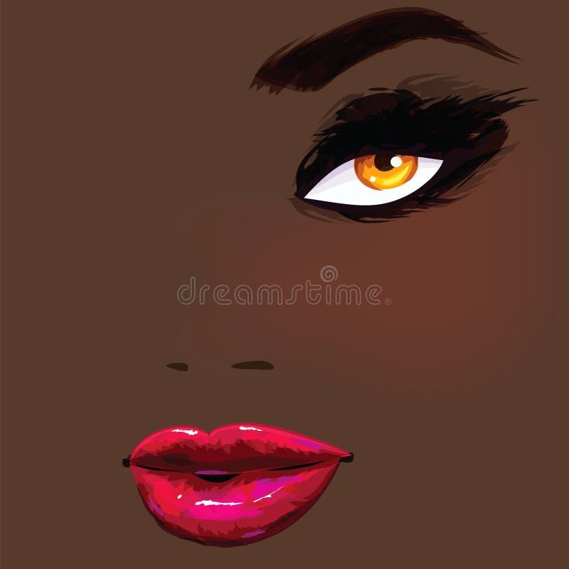 afrikansk härlig kvinna vektor illustrationer