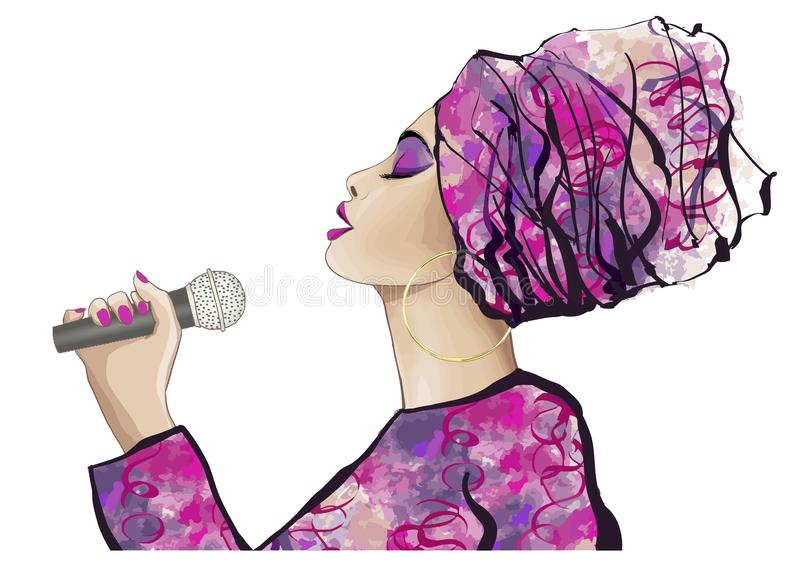 Afrikansk jazzsångare vektor illustrationer