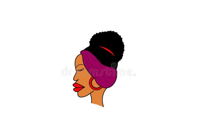 Afrikansk konst för kvinnaframsidagem vektor illustrationer