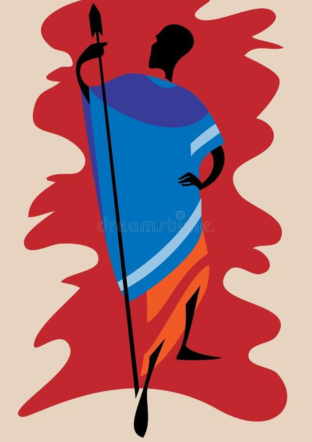 afrikansk krigare royaltyfri illustrationer