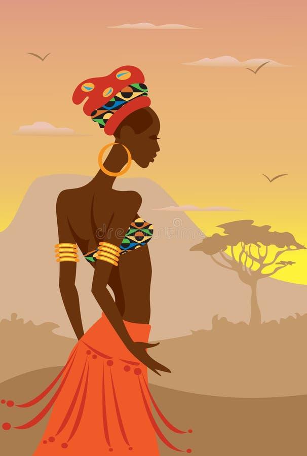 Afrikansk kvinna vektor illustrationer