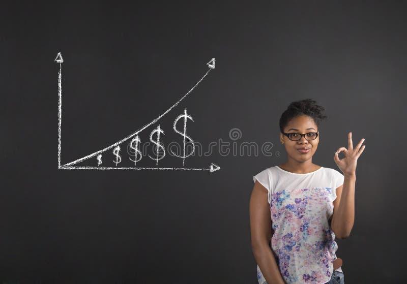 Afrikansk kvinna med den perfekta handsignalen med en växande pengargraf på svart tavlabakgrund arkivfoton