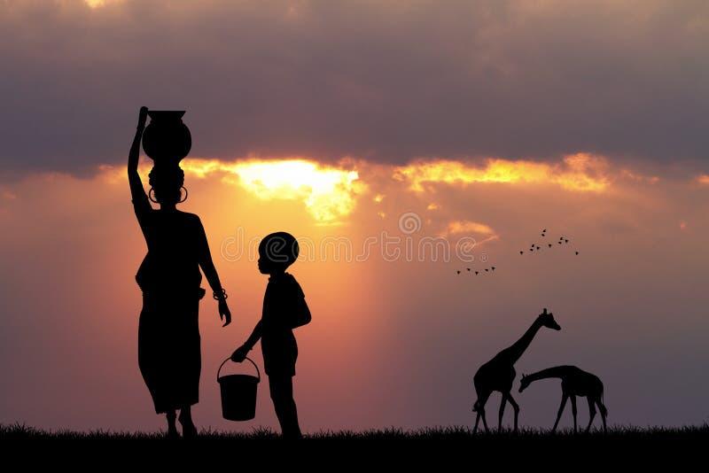 Afrikansk kvinna och barn på solnedgången royaltyfri illustrationer