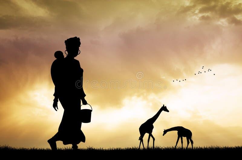 Afrikansk kvinna och son på solnedgången stock illustrationer