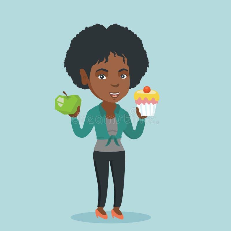 Afrikansk kvinna som väljer mellan äpplet och muffin stock illustrationer