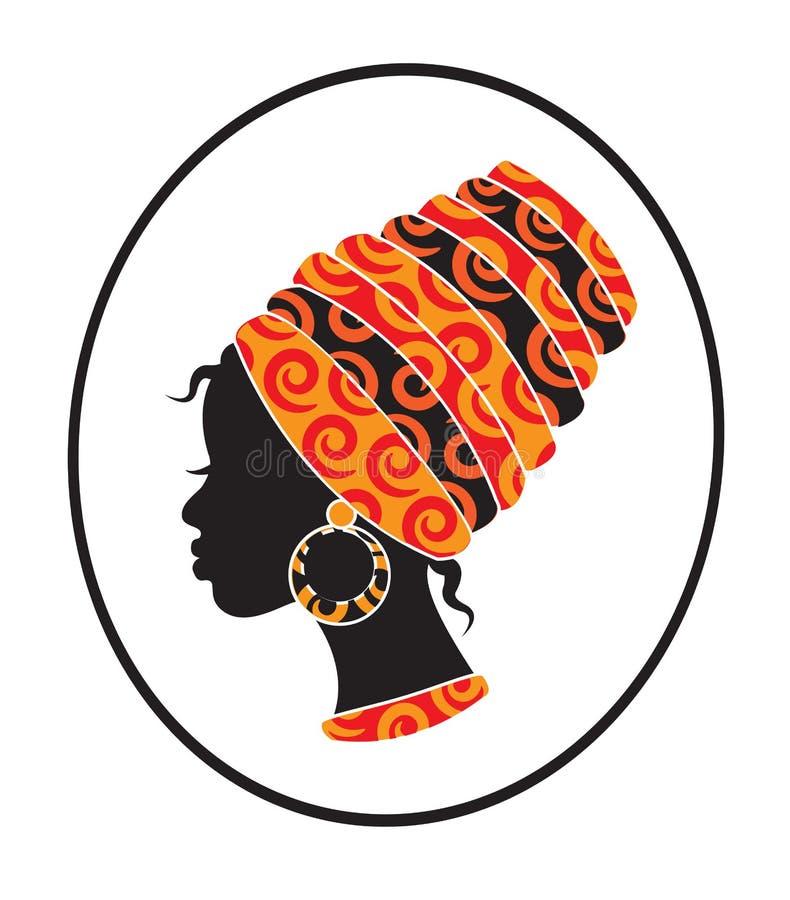 Afrikansk kvinnaframsida i ramen vektor illustrationer