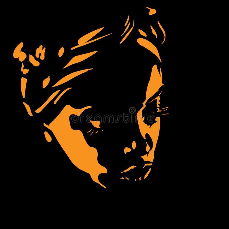Afrikansk kvinnaståendekontur i panelljus illustration vektor illustrationer