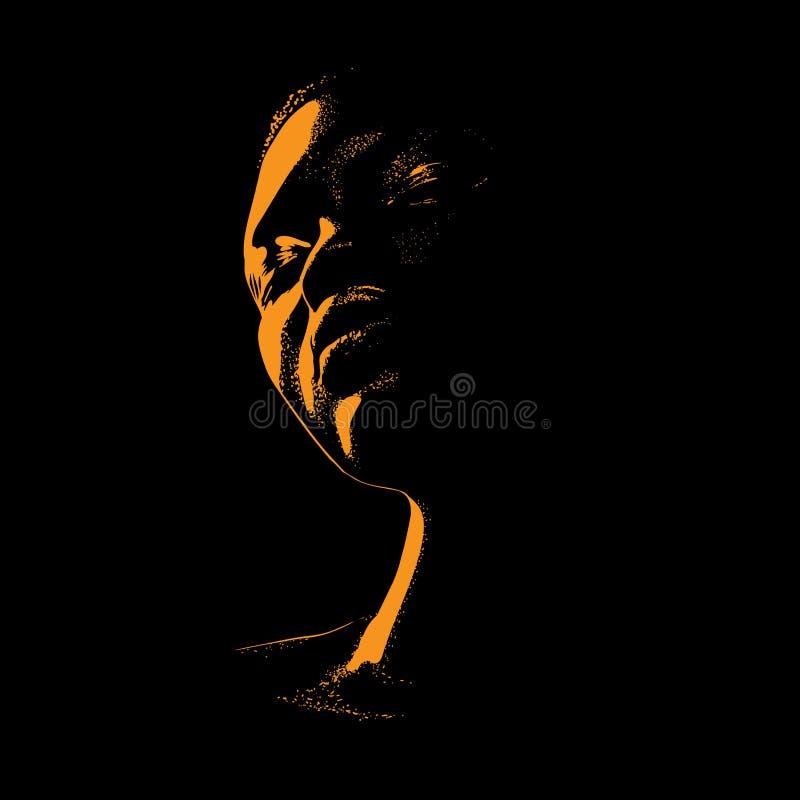 Afrikansk kvinnaståendekontur i panelljus vektor illustration royaltyfri illustrationer