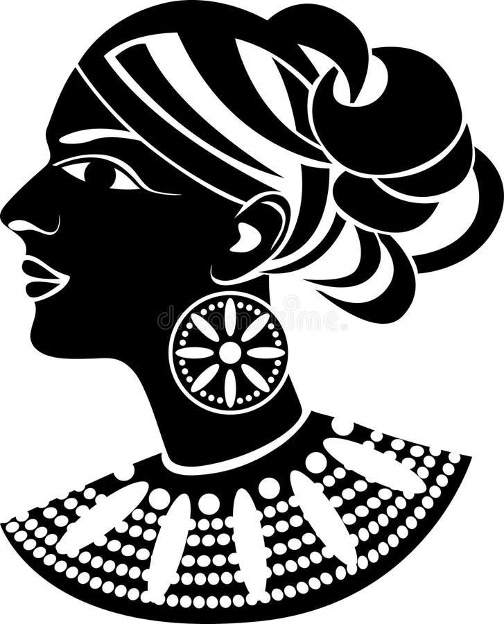 afrikansk kvinnligprofilstil vektor illustrationer