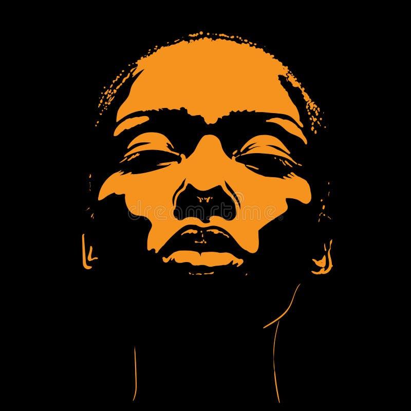 Afrikansk ljus kvinnaframsida i motsats illustration royaltyfri illustrationer