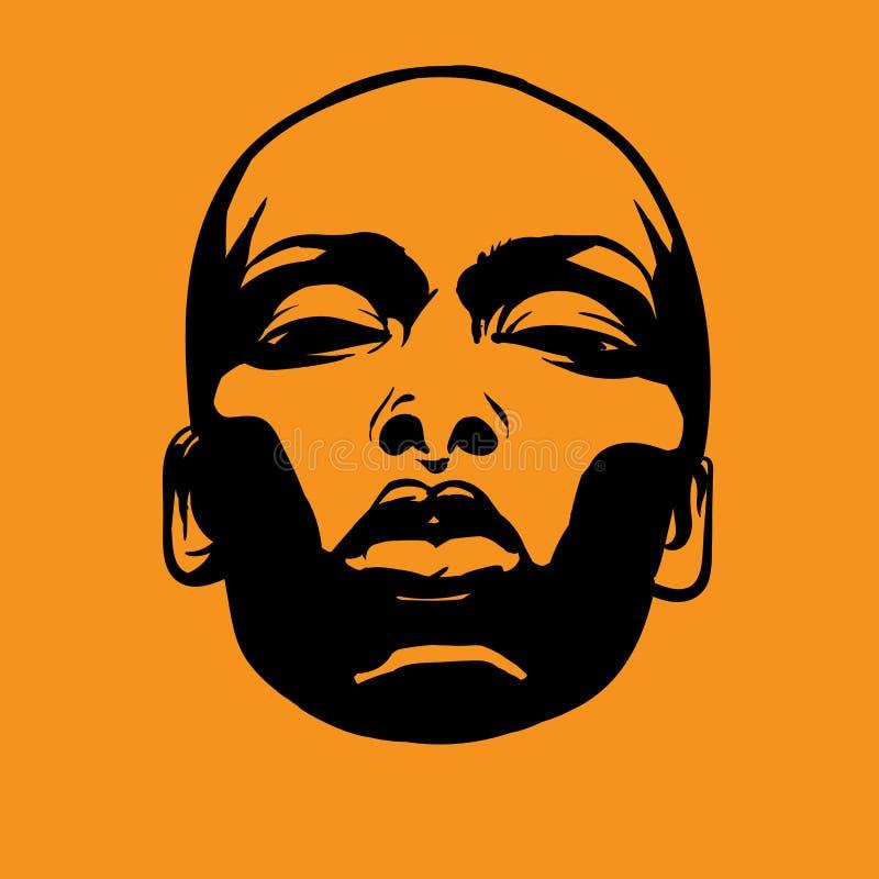 Afrikansk ljus kvinnaframsida i motsats Svartvit stil vektor illustration stock illustrationer