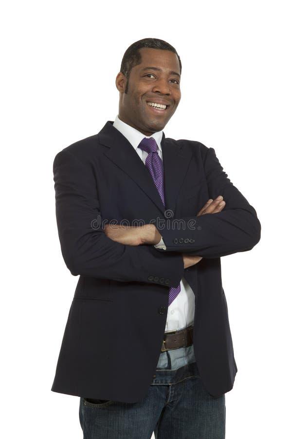 Afrikansk man för stående på vitbakgrund fotografering för bildbyråer