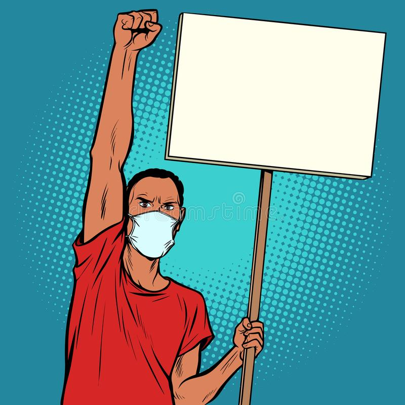 Afrikansk man som protesterar i maskering royaltyfri illustrationer