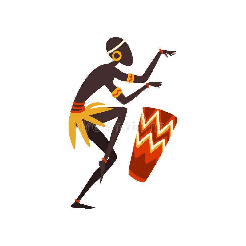 Afrikansk mandans och spelavals, infödd dansare i ljus smyckad etnisk bekläda vektorillustration stock illustrationer