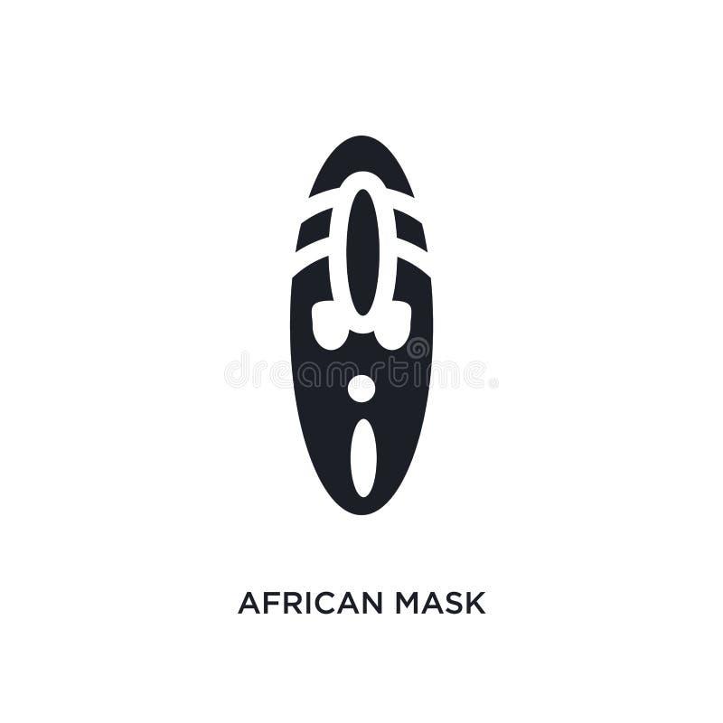 afrikansk maskering isolerad symbol enkel beståndsdelillustration från museumbegreppssymboler för logotecken för afrikansk masker royaltyfri illustrationer