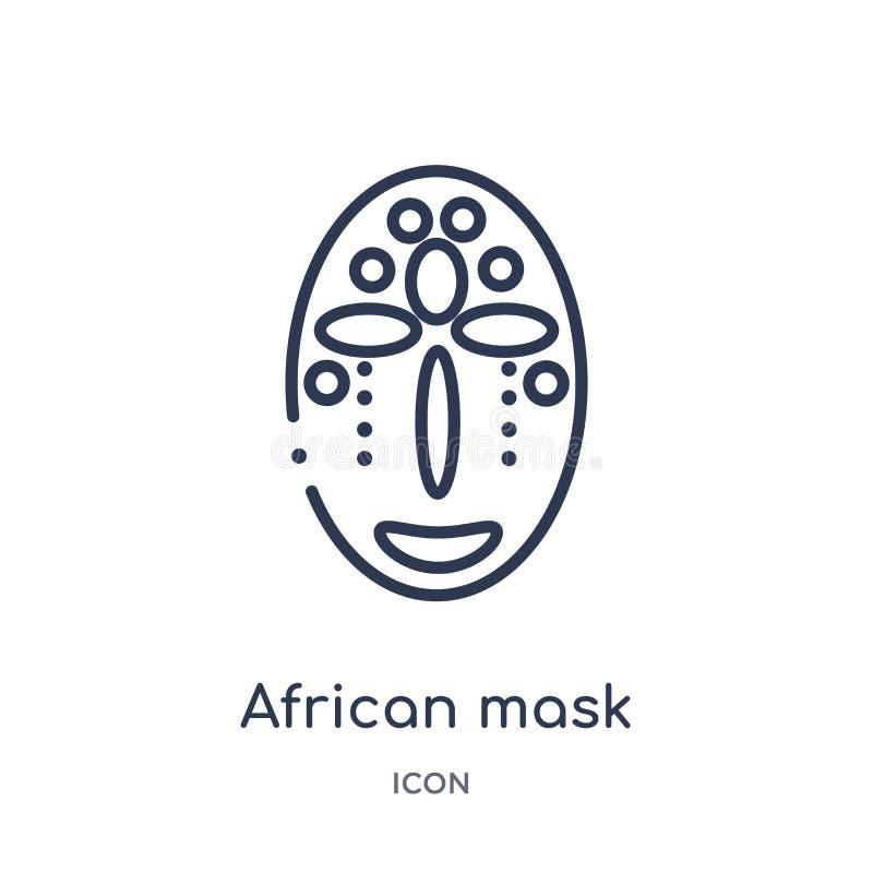 Afrikansk maskeringssymbol från museumöversiktssamling Tunn linje afrikansk maskeringssymbol som isoleras på vit bakgrund royaltyfri illustrationer
