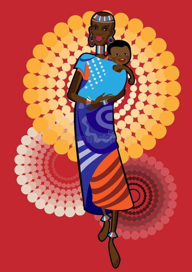afrikansk moder stock illustrationer