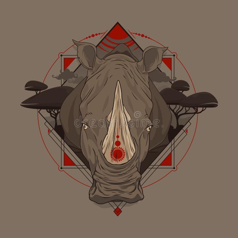 afrikansk noshörning vektor illustrationer