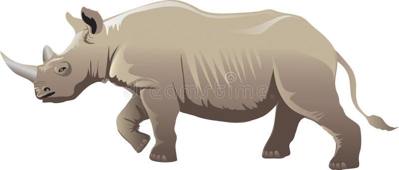 Afrikansk noshörning, afrikanskt löst livdjur för noshörning - vektorillustration stock illustrationer