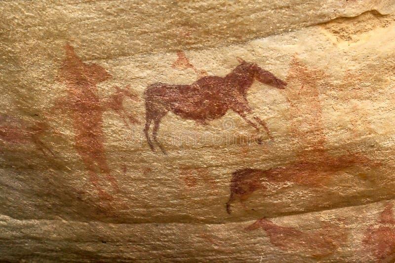 afrikansk pictograph s för djurillustrationsbusman royaltyfria foton