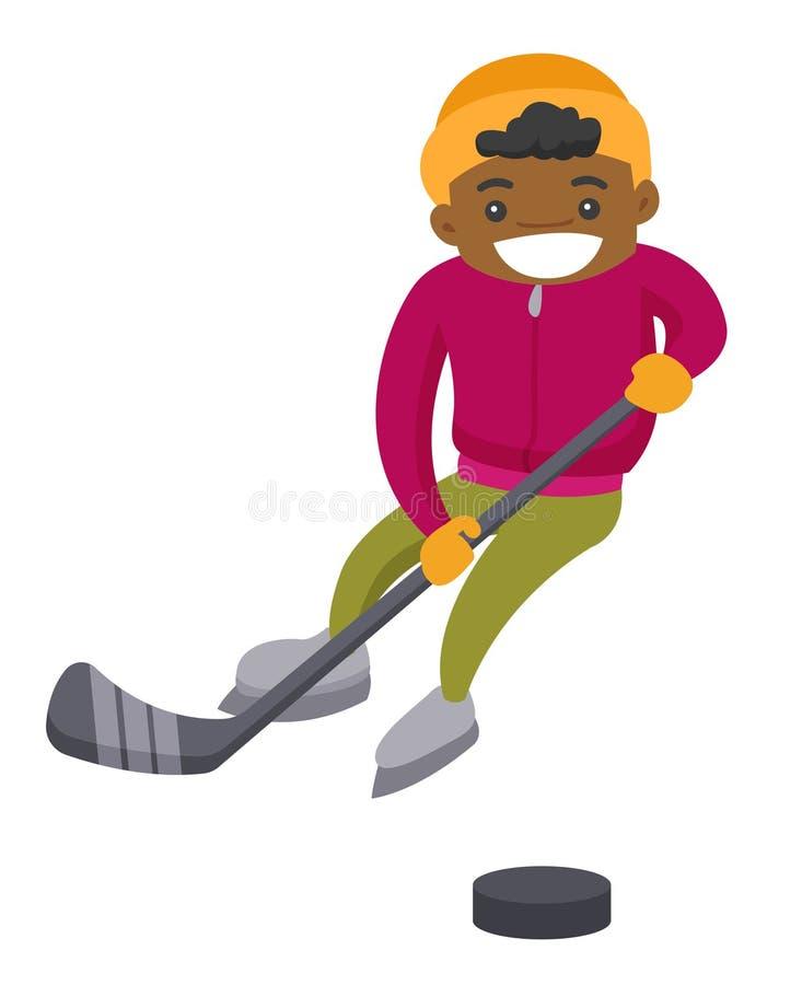 Afrikansk pojke som spelar hockey på utomhus- isbana royaltyfri illustrationer