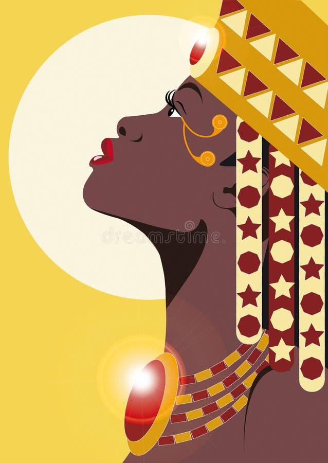 AFRIKANSK PRINSESSA stock illustrationer