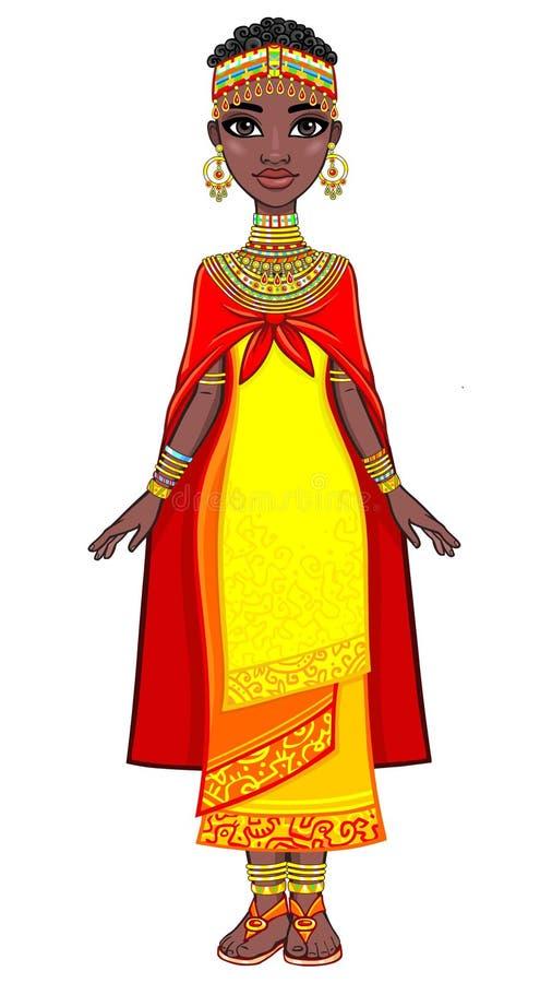 Afrikansk prinsessa för härlig animering i forntida kläder och en turban stock illustrationer
