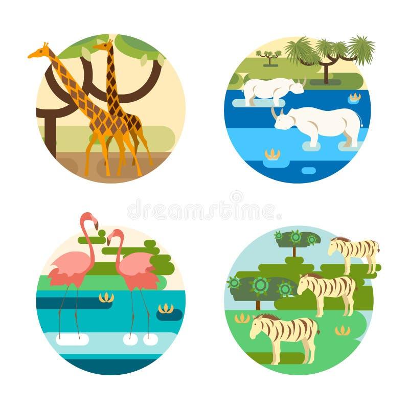 Afrikansk safari med gullig vilda djur stock illustrationer