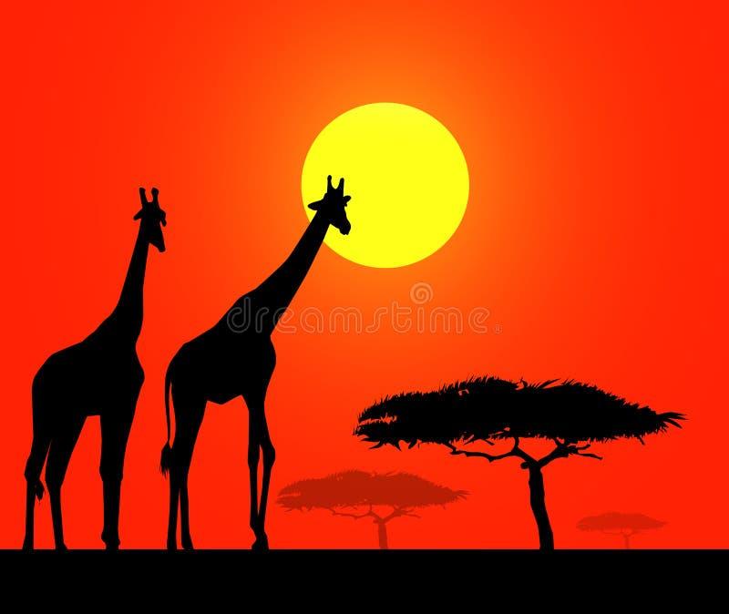Afrikansk safari på Morgon-vektorn royaltyfri illustrationer