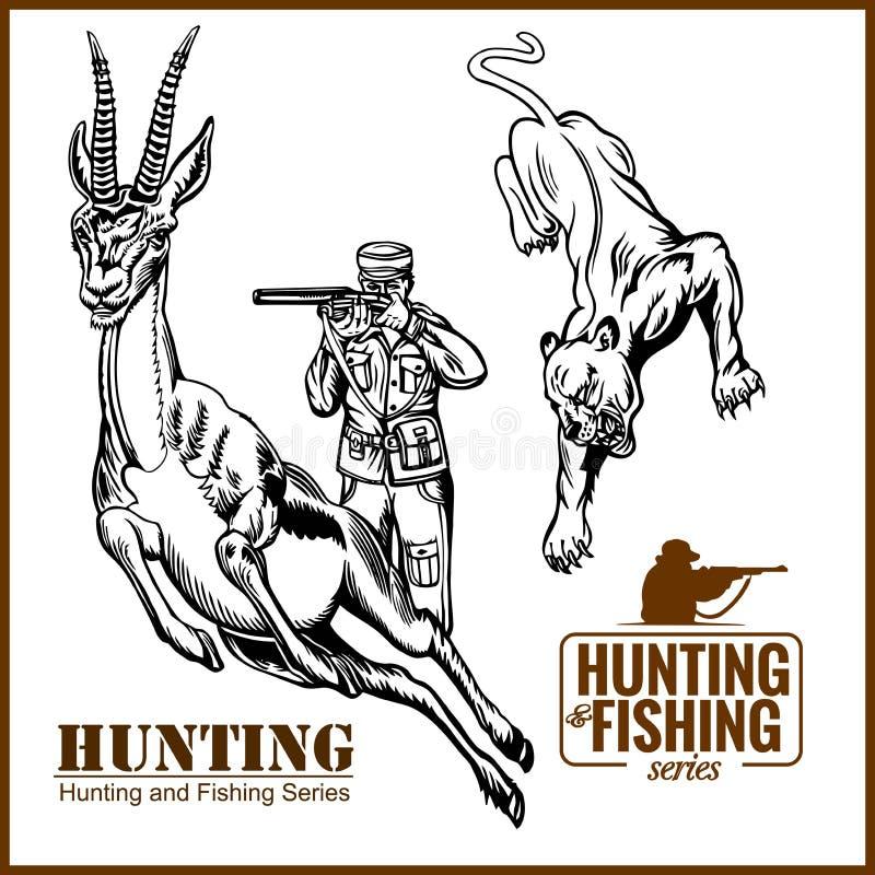 Afrikansk safari som jagar den retro affischen vektor illustrationer