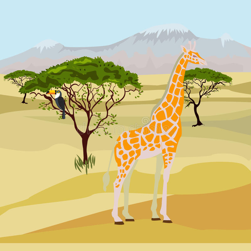 Afrikansk savann - daglandskap också vektor för coreldrawillustration vektor illustrationer