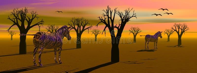 afrikansk savannah royaltyfri illustrationer