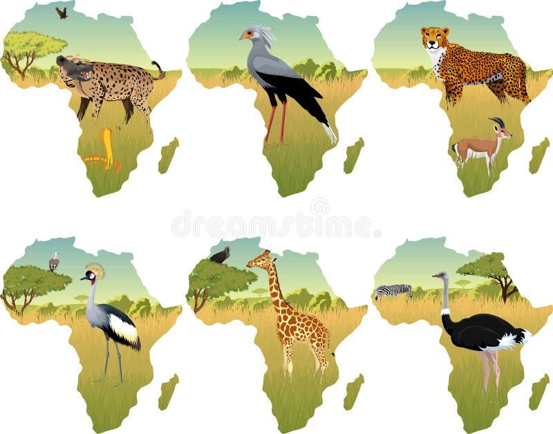 Afrikansk savannah för vektor med sekreterarefågeln som krönas kran, hyenna, kobra, gepard, gasell, giraff och olika djur vektor illustrationer