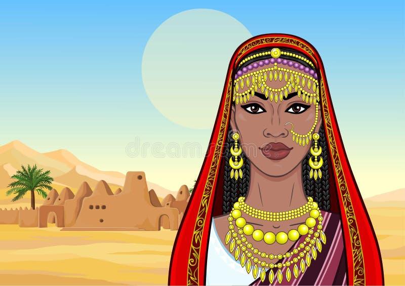 Afrikansk sk?nhet: animeringst?ende av den h?rliga svarta kvinnan i traditionella etniska smycken royaltyfri illustrationer