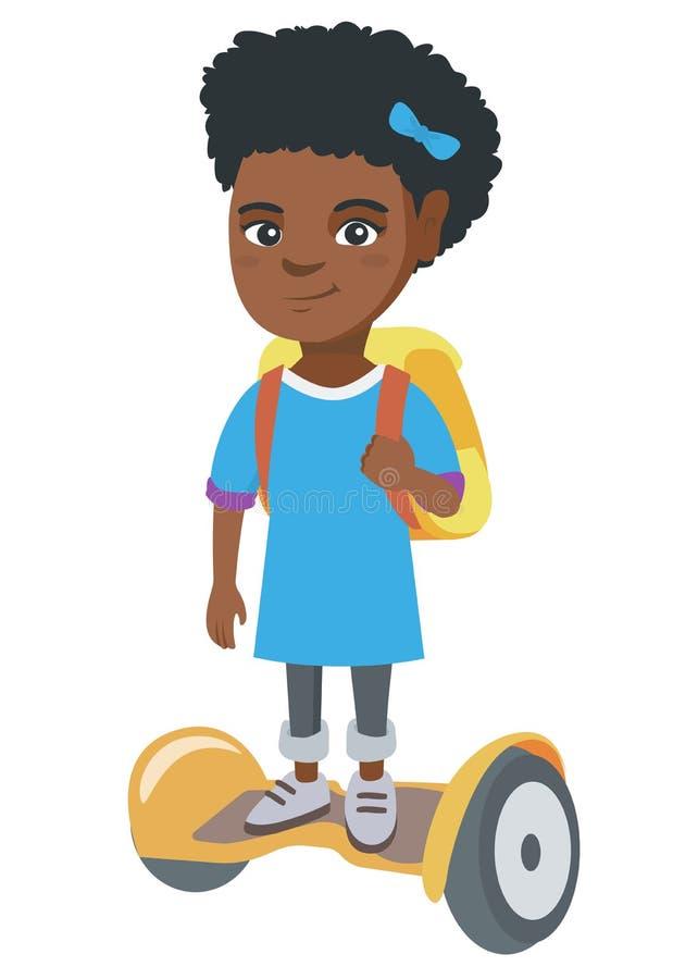 Afrikansk skolflickaridning på gyroboard till skolan stock illustrationer