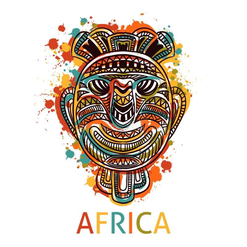 Afrikansk stam- maskering med den etniska geometriska prydnaden royaltyfri illustrationer