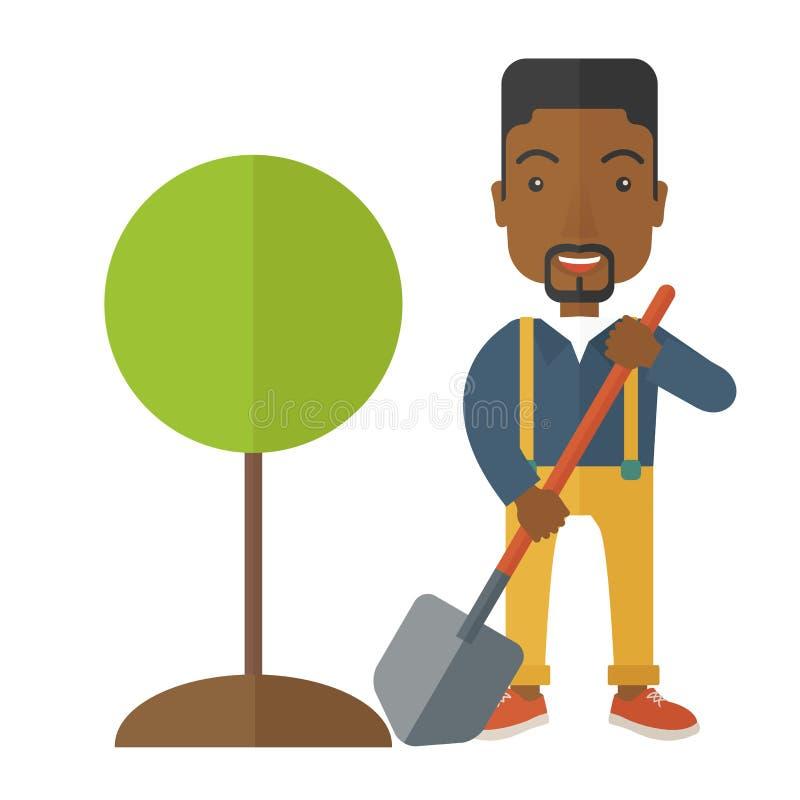 Afrikansk trädgårdsmästareväxt ett träd royaltyfri illustrationer