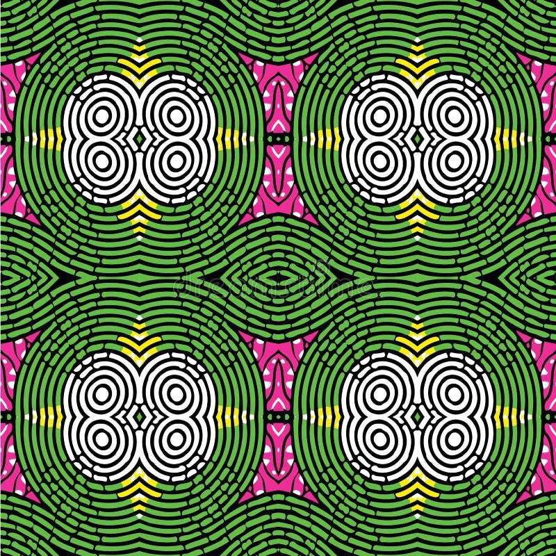 Afrikansk trycktappning Ankara vaxar sömlös design royaltyfri illustrationer