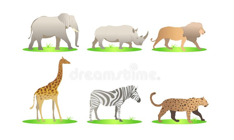 Afrikansk uppsättning för djurtecknad filmvektor elefant noshörning, giraff, gepard, sebra, lejon safari isolerade illustrationen vektor illustrationer