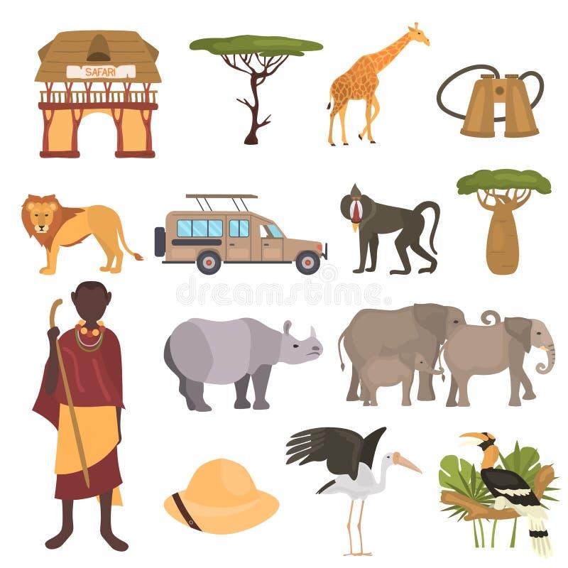 Afrikansk uppsättning för symboler för safarifärglägenhet royaltyfri illustrationer