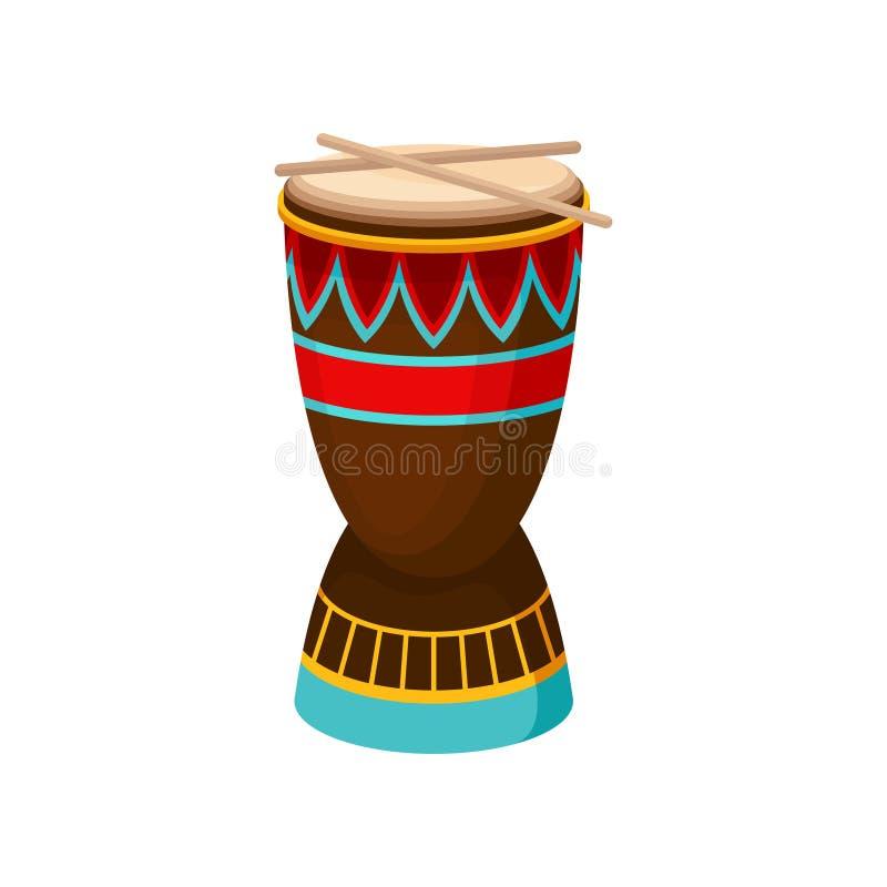 Afrikansk valsdjembe med den etniska prydnaden, autentiskt symbol av den Afrika vektorillustrationen på en vit bakgrund stock illustrationer