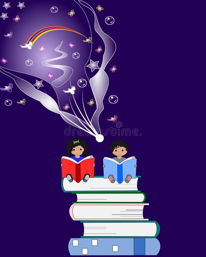 Afrikanska barn sitter och läser böcker och fantasiflugan royaltyfri illustrationer