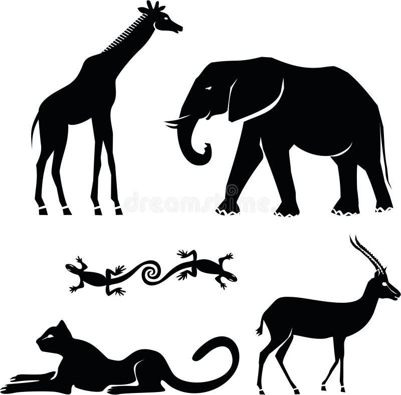 afrikanska djur vektor illustrationer