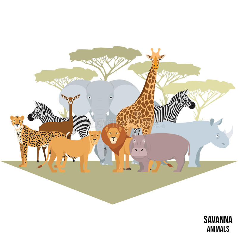 Afrikanska djur av savannelefanten, noshörningen, giraffet, geparden, sebran, lejonet, flodhäst isolerade tecknad filmvektorillus stock illustrationer