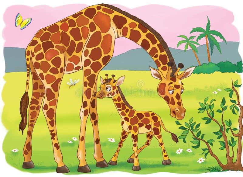 afrikanska djur children illustration arkivfoto