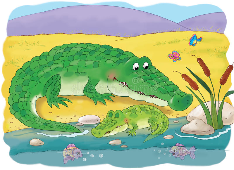 afrikanska djur Gulliga krokodiler children illustration royaltyfria foton