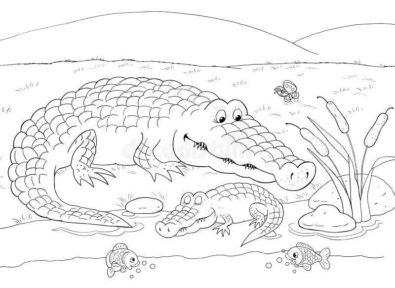 afrikanska djur Gulliga krokodiler children illustration arkivbilder