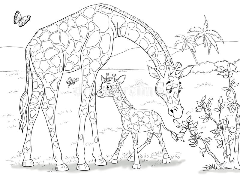 afrikanska djur Gulliga krokodiler children illustration arkivbild
